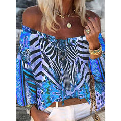 Print Off the Shoulder 3/4 Sleeves Casual Blouses