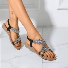 Mulheres PU Salto baixo Chinelos com Faixa Elástica sapatos