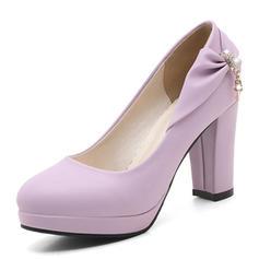 Femmes PVC Talon bottier Escarpins Plateforme avec Bowknot chaussures