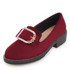 Women's Suede Leatherette Flat Heel Flats With Rhinestone Buckle shoes