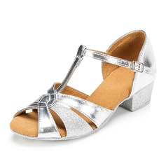 Women's Latin Sandals Pumps Sparkling Glitter With T-Strap Buckle Hollow-out Ballroom