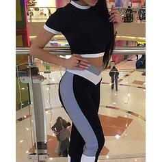 Round Neck Sleeveless Color Block Top & Pant Sets