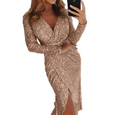 Sequins Long Sleeves Sheath Knee Length Sexy/Party/Elegant Dresses