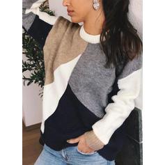 Színblokk Csavart kötés Kerek nyak πουλόβερ