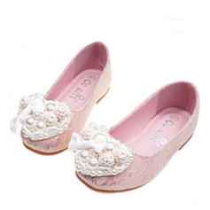 Girl's Silk Like Satin Flat Heel Round Toe Closed Toe Flats Flower Girl Shoes With Flower