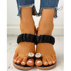 Donna Panno Senza tacco Sandalo Punta aperta Ciabatte con Perla imitazione scarpe