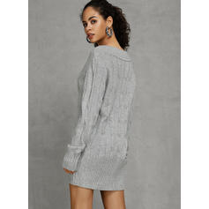 Solid V-Neck Casual Tight Sweater Dress