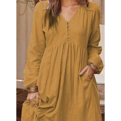 Solid Long Sleeves A-line Casual/Vacation Midi Dresses