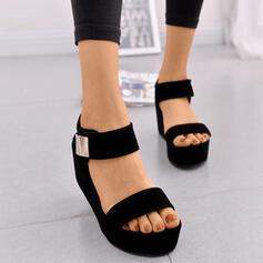 Femmes PU Talon compensé Sandales Plateforme Compensée À bout ouvert avec Boucle chaussures