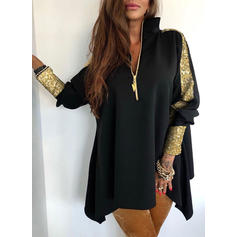 Patchwork Sequins V-neck Long Sleeves Casual Knit Blouses