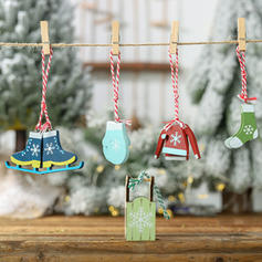 Sleigh Hanging Wooden Christmas Pendant Tree Hanging Ornaments (Set of 5)