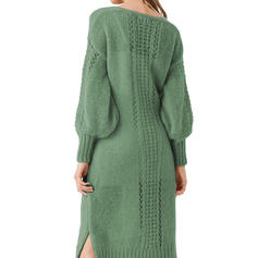 Solid/Chunky knit/Cable-knit Long Sleeves Bodycon Knee Length Casual/Long/Oversized Dresses