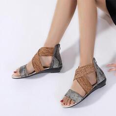 Femmes PU Talon bas Sandales À bout ouvert Escarpins avec Entrecroisement chaussures