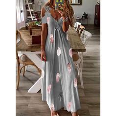 Druck Spitze Kurze Ärmel silhouette A-Linien-Kleid Skater Lässige Kleidung Maxi Kleider