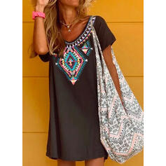 Print Short Sleeves Shift Above Knee Casual T-shirt Dresses
