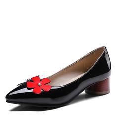 Mulheres Couro Salto robusto Sem salto com Flor sapatos