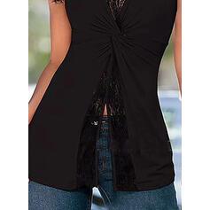 Sólido Cuello en V Sin mangas Casual Camisetas sin mangas