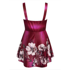 Print Floral V-Neck Sleeveless Plus Size Tank Tops