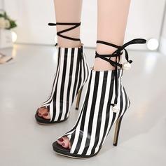 Femmes Similicuir Talon stiletto Sandales Escarpins À bout ouvert Bottes mi-mollets avec Bowknot Dentelle chaussures