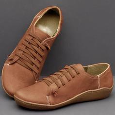 Pentru Femei PU călcâi plat Balerini cu Lace-up pantofi