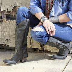 Frauen Kunstleder Stämmiger Absatz Kniehocher Stiefel mit Andere Schuhe