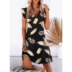 印刷 半袖 小飛行スリーブ シフトドレス 膝丈 カジュアル/休暇 ドレス