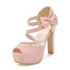 Frauen PU Stämmiger Absatz Sandalen Absatzschuhe Plateauschuh Peep Toe mit Bowknot Schuhe