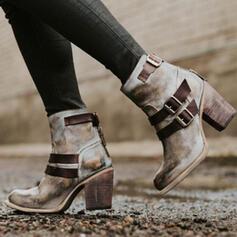 Frauen PU Stämmiger Absatz Absatzschuhe Geschlossene Zehe Stiefel mit Schnalle Reißverschluss Schuhe