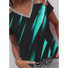 Print Sequins Cold Shoulder Short Sleeves Casual Blouses