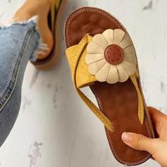 Women's Fabric Flat Heel Sandals Flats Peep Toe With Flower shoes