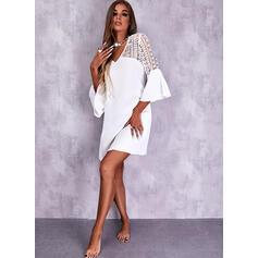 Solid Lace 3/4 Sleeves Flare Sleeve Shift Knee Length Elegant Dresses