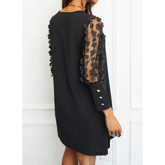 Floral/Solid 3/4 Sleeves Shift Above Knee Little Black/Elegant Dresses