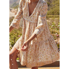 Print/Floral 3/4 Sleeves Shift Above Knee Casual/Boho/Vacation Dresses