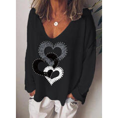 Minta Καρδιά V-nyak Hosszú ujjú Hétköznapokra robić na drutach Μπλουζάκια