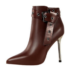 Women's Leatherette Stiletto Heel Pumps Closed Toe Boots Mid-Calf Boots With Buckle shoes