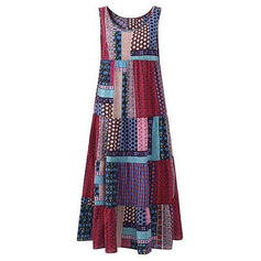 Patchwork Sleeveless Shift Casual/Vacation Maxi Dresses