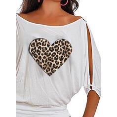Leopard Print Hjärta Rund-ringning 1/2 ärmar Fritids Extra stor storlek Blusar