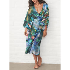 Tropical Print V-neck Bohemian Cover-ups Swimsuits