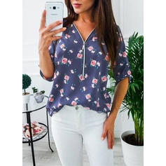 Print Floral V-Neck 3/4 Sleeves Casual Knit Blouses