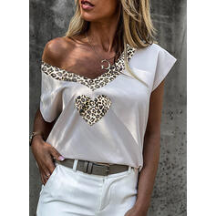 Print Leopard V-Neck Short Sleeves Casual Blouses