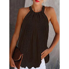 Solide Kant Cold Shoulder Mouwloos Casual Tanks