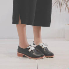 Frauen Kunstleder Flascher Absatz Flache Schuhe mit Zuschnüren Schuhe