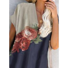 Print/Bloemen Korte Mouwen Shift Boven de knie Casual T-shirt Jurken