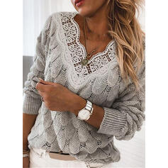 Solid Lace V-Neck Casual Sweaters