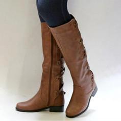 De mujer PU Tacón bajo Tacón ancho Botas Botas a la rodilla con Hebilla Cremallera Cordones zapatos