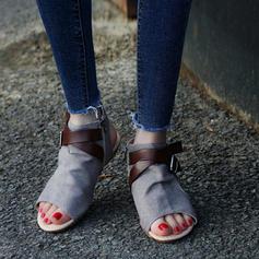 Femmes Toile Talon plat Sandales avec Boucle chaussures
