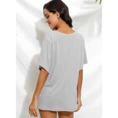 Animal Print V-Neck Short Sleeves Casual T-shirts