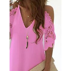 Lace/Solid 3/4 Sleeves/Cold Shoulder Sleeve Shift Above Knee Little Black/Casual/Elegant Dresses