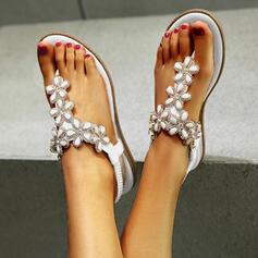 Femmes PU Talon plat Sandales À bout ouvert avec Strass Une fleur chaussures
