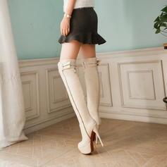 Women's PU Stiletto Heel Pumps Platform Boots Knee High Boots With Buckle Zipper shoes